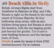 Villa Renata Listed in The Times Beach Villa In Sicily