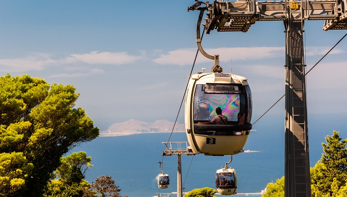 Cable car connecting Erice to Trapani