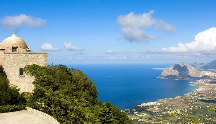 Panoramic view of the west coast from Erice