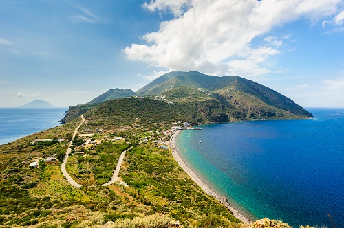 Filicudi and Salina on backgrouns, Aeolian Islands