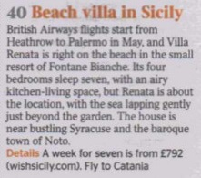 Villa Renata Listed in The Times Beach Villa In Sicily