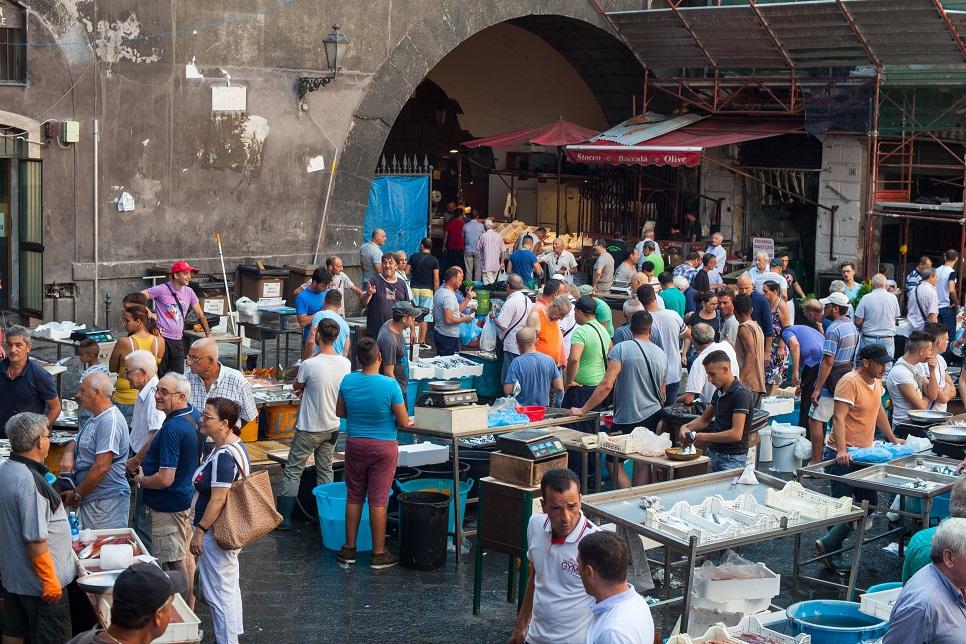 Street market in Catania Sicily