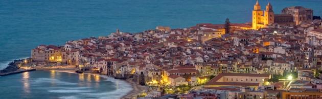Cefalu at the north coast of Sicily at twilight