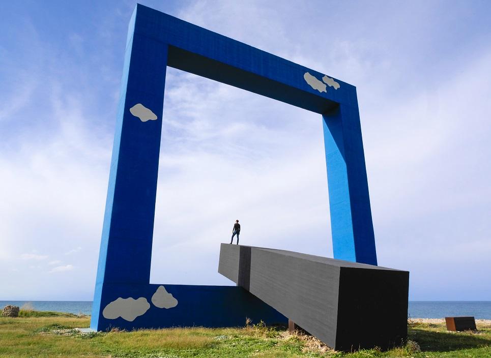 "One of the dramatic sculptures at ""La Fiumara d'Arte"""