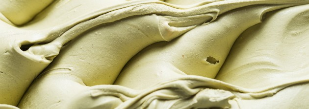 Close up of a surface texture of a creamy green Ice cream.