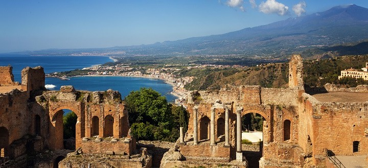 The Greco-Roman amphitheatre in Taormina with Mt Etna behind.