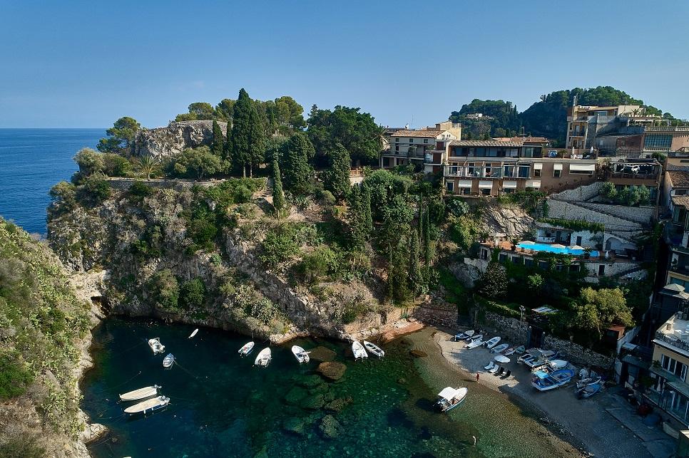 Aerial view fo the villa and private beach